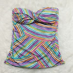 Anne Cole Striped Multi Color Tankini Top Large